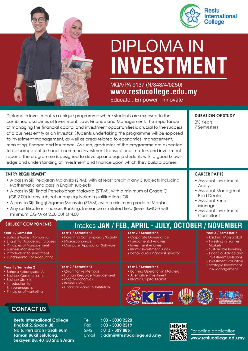 diploma in investment restu international college